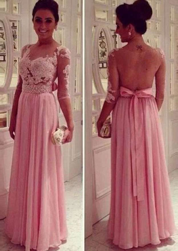 A-Line/Princess Bateau 3/4 Sleeve Long/Floor-Length Chiffon Mother Of The Bride Dress With Beading Appliqued