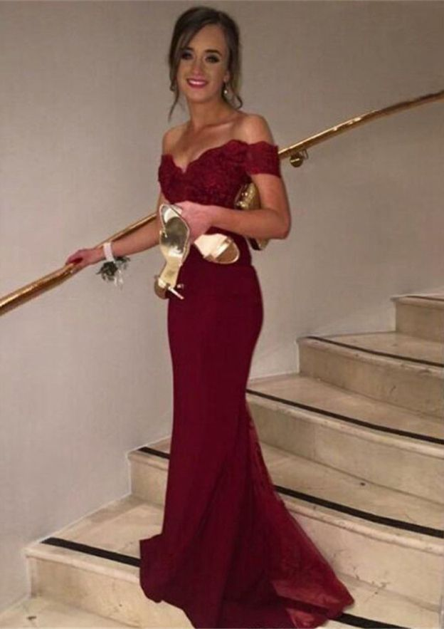 Trumpet/Mermaid Off-The-Shoulder Sleeveless Sweep Train Chiffon Prom Dresses With Lace Waistband Bandage Appliqued