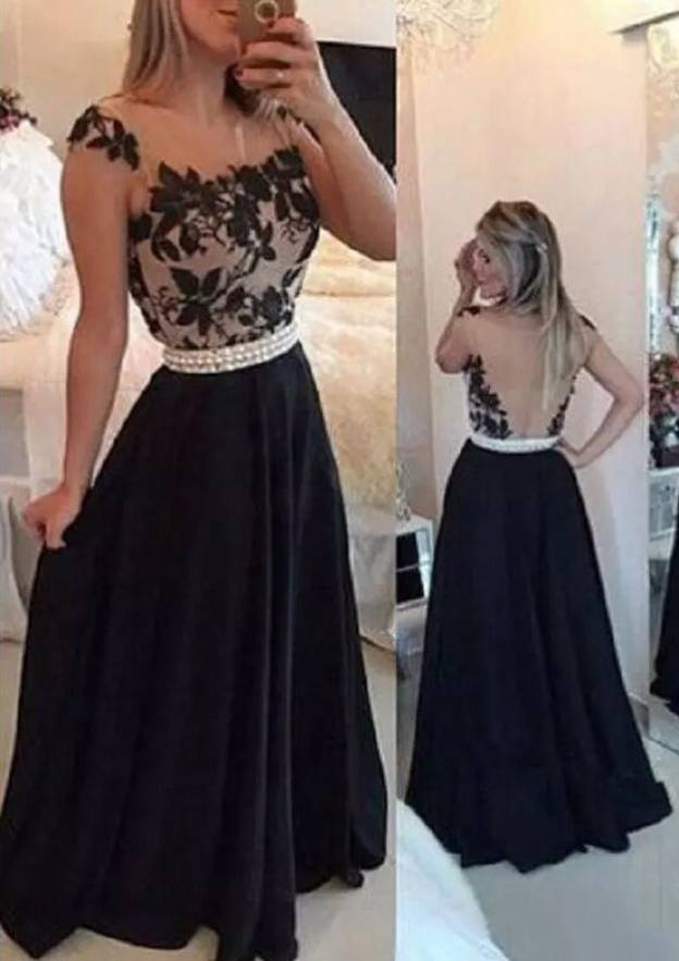 A-Line/Princess Square Neckline Sleeveless Long/Floor-Length Chiffon Prom Dress With Waistband Appliqued Beading