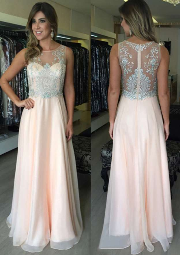 A-Line/Princess Bateau Sleeveless Long/Floor-Length Chiffon Prom Dress With Lace Beading