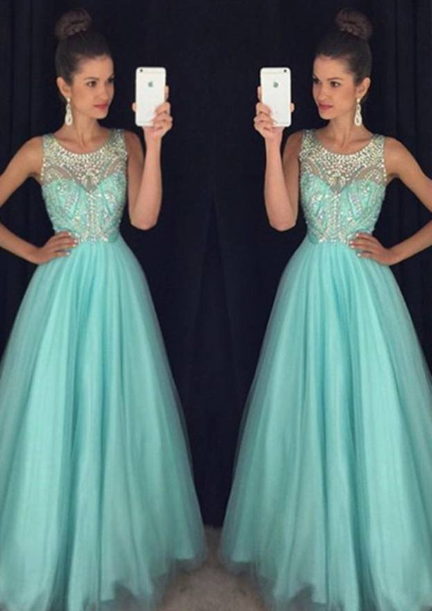 A-Line/Princess Scoop Neck Sleeveless Long/Floor-Length Tulle Prom Dress With Sequins Beading