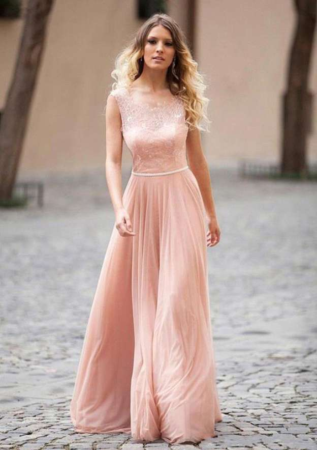 A-Line/Princess Scalloped Neck Sleeveless Long/Floor-Length Chiffon Prom Dress With Waistband Appliqued Lace