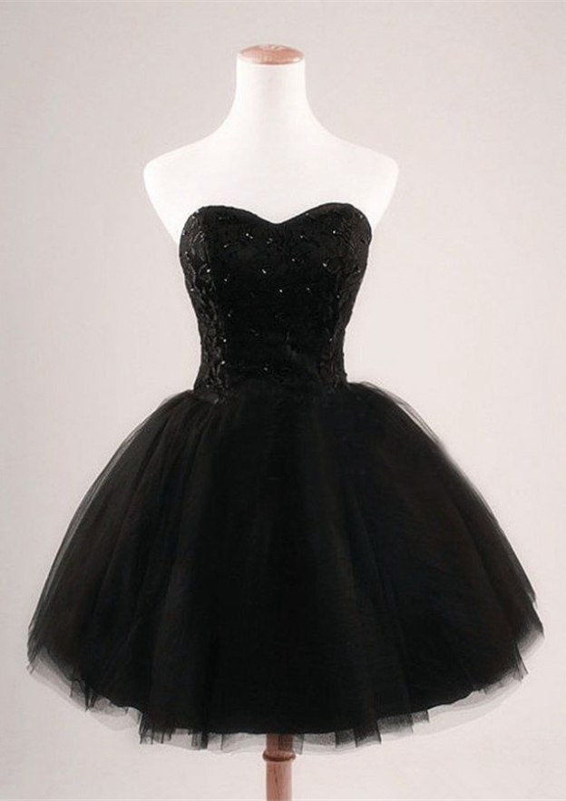 Ball Gown Sweetheart Sleeveless Short/Mini Tulle Homecoming Dress With Lace Beading
