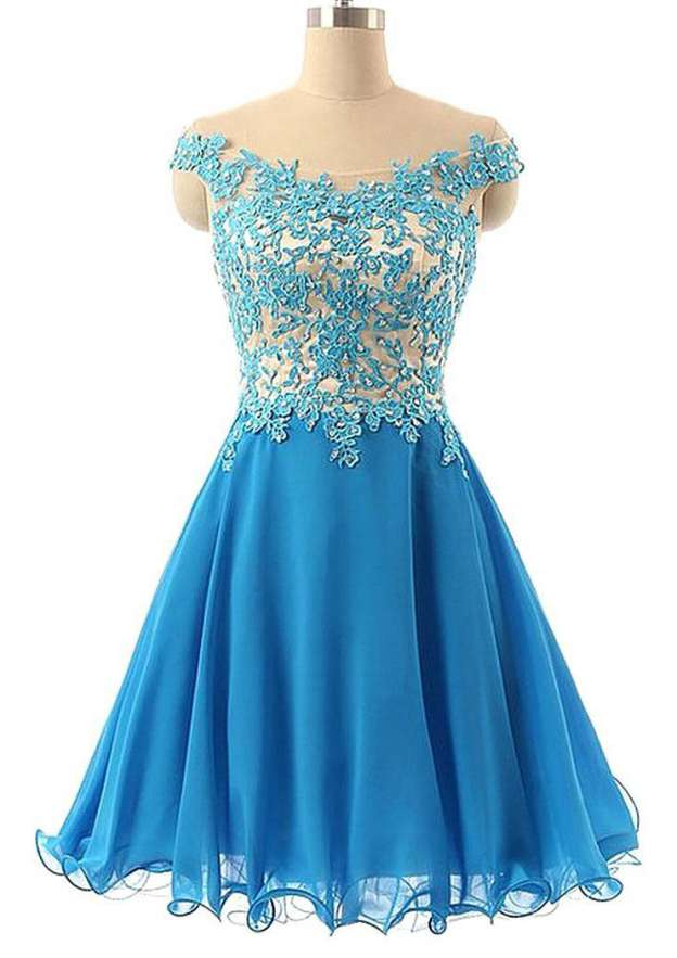 A-Line/Princess Off-The-Shoulder Sleeveless Short/Mini Chiffon Homecoming Dress With Rhinestone Appliqued