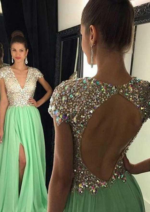 A-Line/Princess V Neck Sleeveless Sweep Train Chiffon Prom Dress With Rhinestone Sequins Split