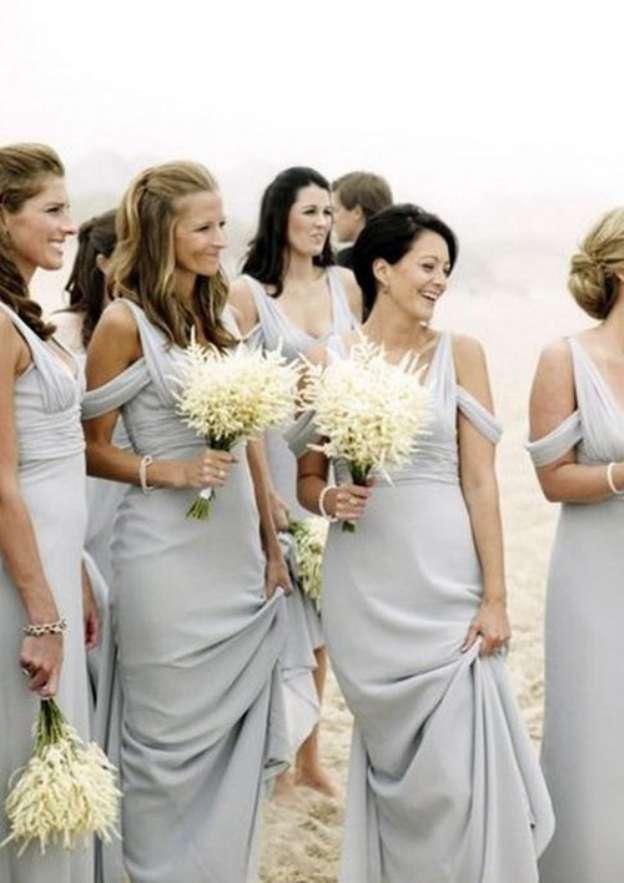 Sheath/Column V Neck Sleeveless Long/Floor-Length Chiffon Bridesmaid Dresses With Side Draping