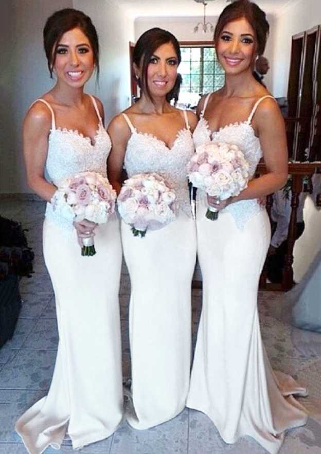 Trumpet/Mermaid Sweetheart Sleeveless Sweep Train Charmeuse Bridesmaid Dresses With Lace