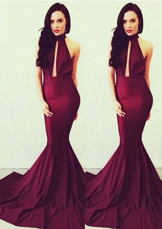 Trumpet/Mermaid High-Neck Sleeveless Court Train Charmeuse Evening Dress