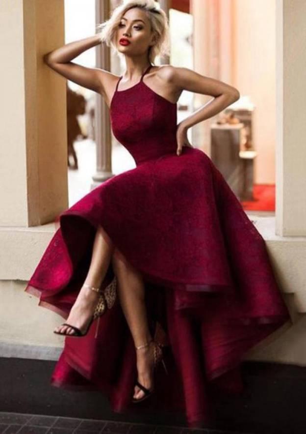 A-Line/Princess Square Neckline Sleeveless Asymmetrical Lace Homecoming Dress