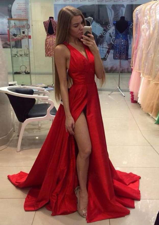 A-Line/Princess V Neck Sleeveless Sweep Train Charmeuse Prom Dress With Split