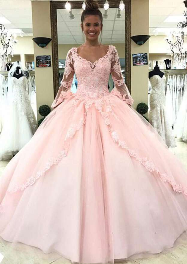 Ball Gown V Neck 3/4 Sleeve Sweep Train Tulle Prom Dress With Sequins Appliqued Lace