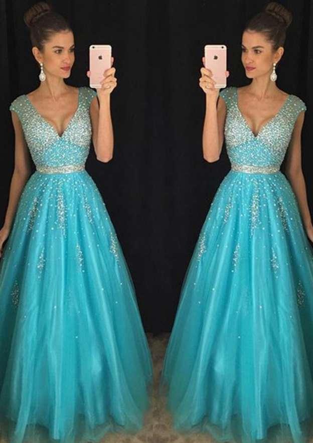 A-Line/Princess V Neck Sleeveless Sweep Train Tulle Prom Dress With Rhinestone