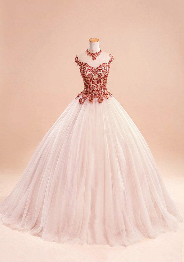 Ball Gown High-Neck Sleeveless Sweep Train Tulle Prom Dress With Beading Appliqued
