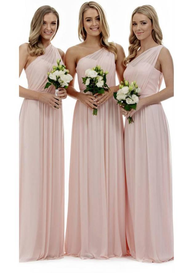 A-Line/Princess One-Shoulder Sleeveless Sweep Train Chiffon Bridesmaid Dresses