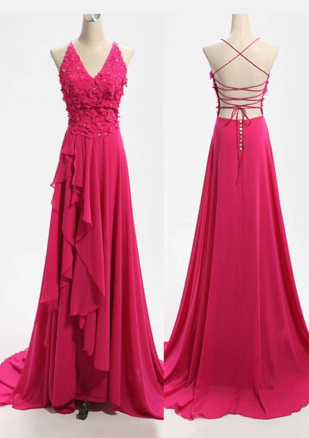 A-Line/Princess V Neck Sleeveless Sweep Train Chiffon Prom Dress With Appliqued Crystal