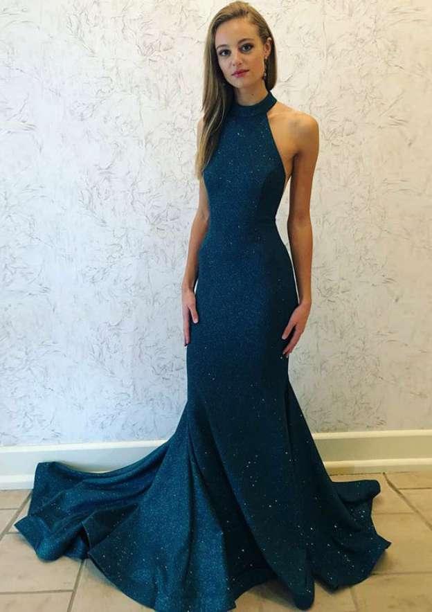 Sheath/Column High-Neck Sleeveless Court Train Lace Evening Dress With Beading