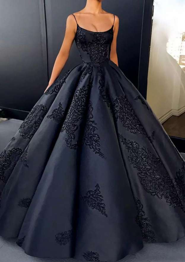 Ball Gown Bateau Sleeveless Long/Floor-Length Satin Prom Dress With Appliqued