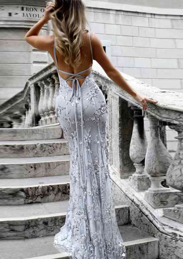 Trumpet/Mermaid V Neck Sleeveless Sweep Train Tulle Evening Dress With Beading Appliqued