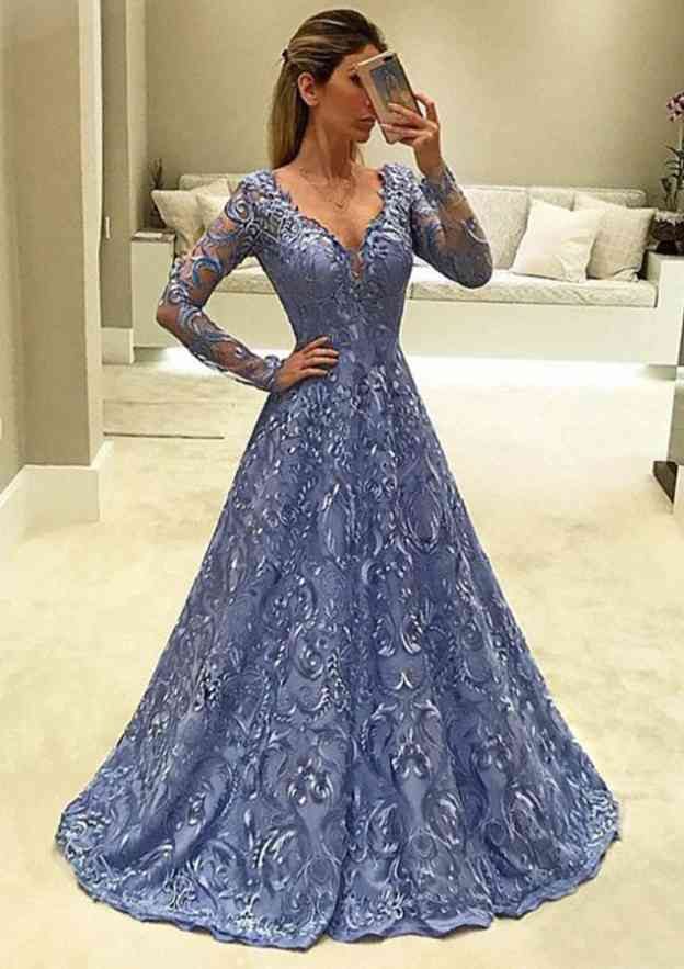 A-Line/Princess V Neck Full/Long Sleeve Long/Floor-Length Lace Prom Dress