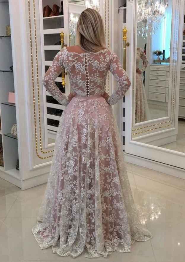 A-Line/Princess Scalloped Neck Sleeves Sweep Train Lace Prom Dress Waistband