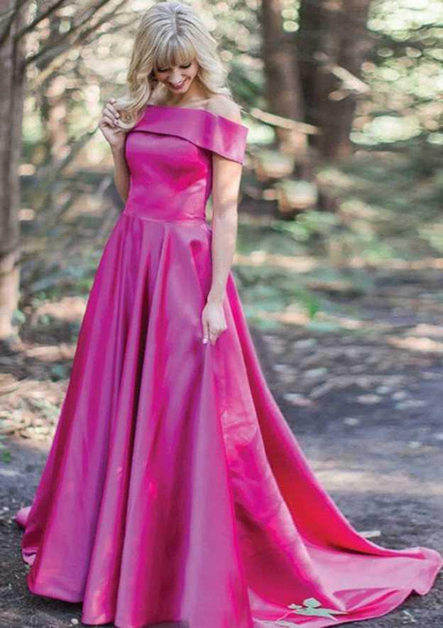 A-Line/Princess Off-The-Shoulder Sleeveless Sweep Train Satin Prom Dress