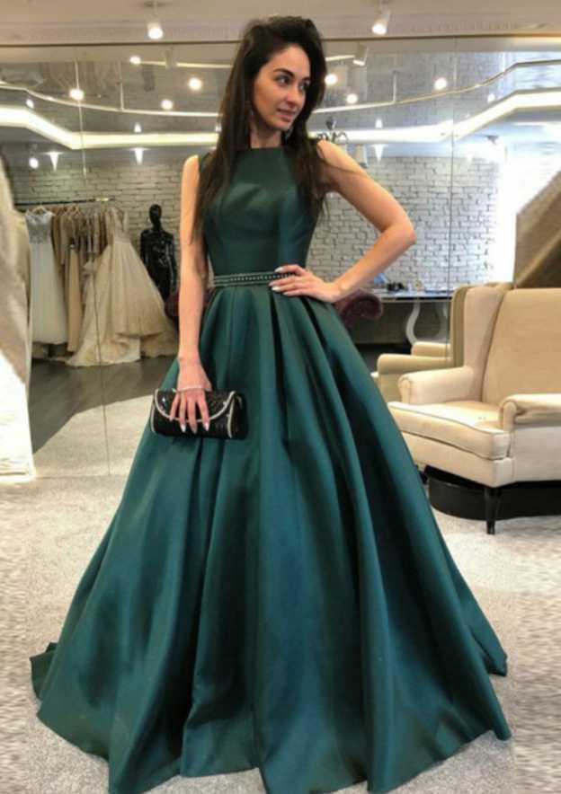 A-Line/Princess Bateau Sleeveless Court Train Satin Prom Dress With Beading Waistband