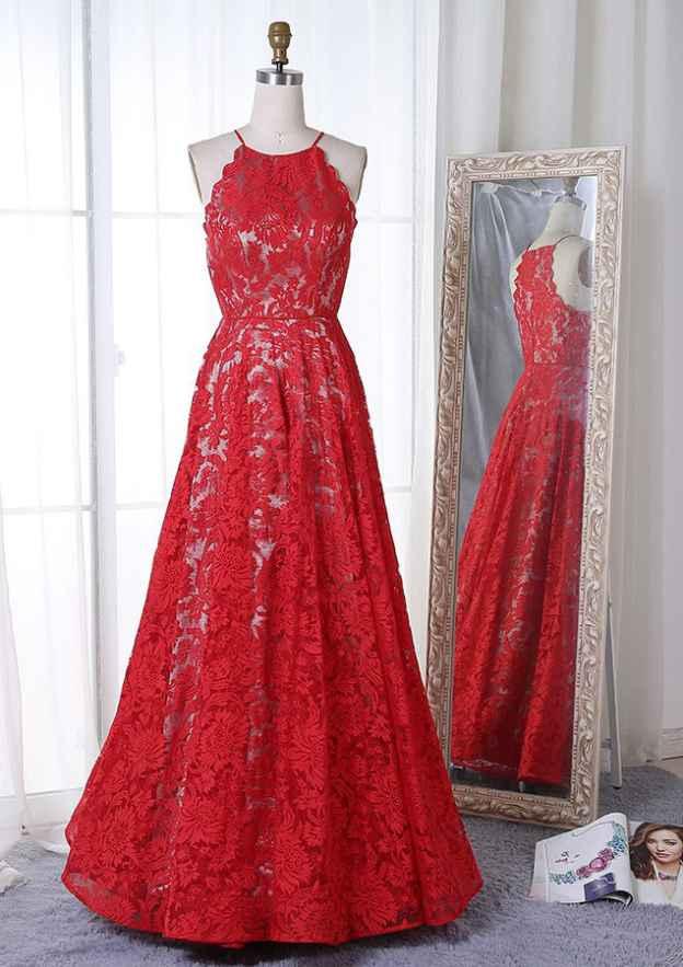 A-Line/Princess Scoop Neck Sleeveless Long/Floor-Length Lace Prom Dress