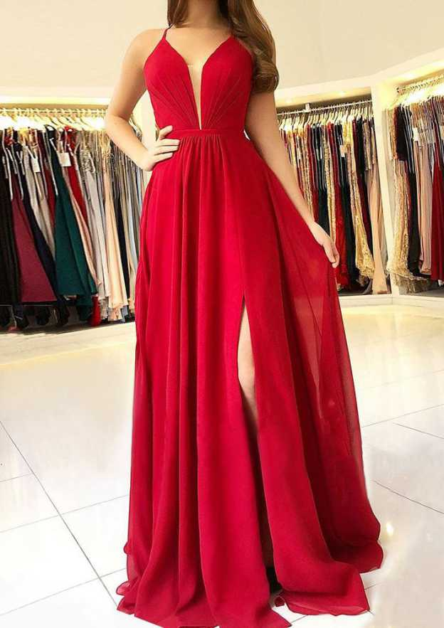 A-Line/Princess Scalloped Neck Sleeveless Long/Floor-Length Chiffon Prom Dress With Split