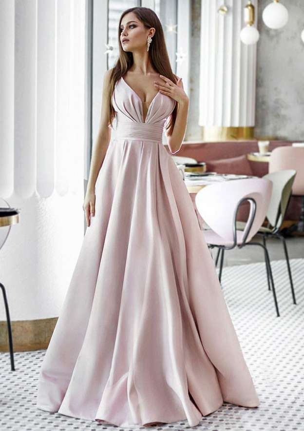 Ball Gown Scalloped Neck Sleeveless Long/Floor-Length Satin Prom Dress With Pleated