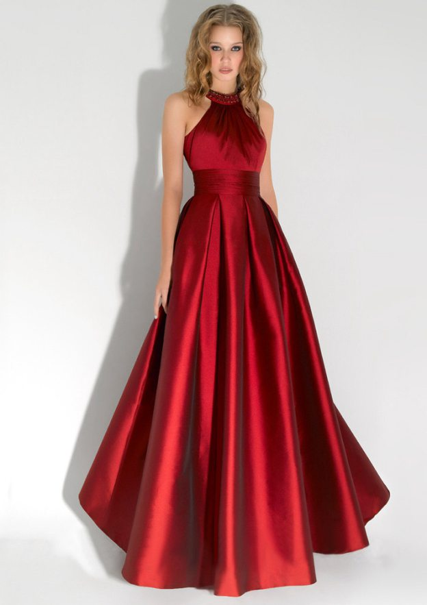A-Line/Princess High-Neck Sleeveless Long/Floor-Length Satin Prom Dresses With Pleated