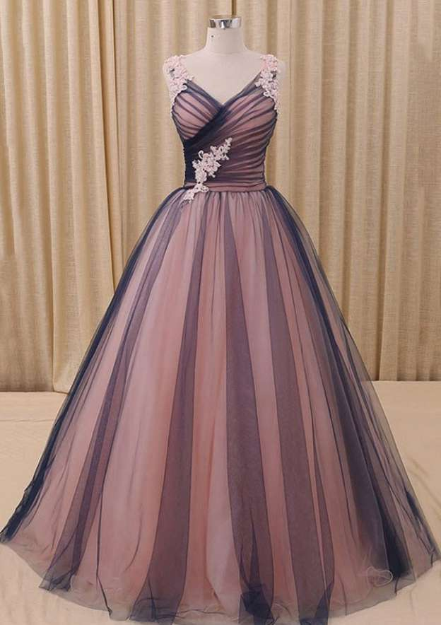 Ball Gown V Neck Sleeveless Long/Floor-Length Tulle Prom Dress With Appliqued