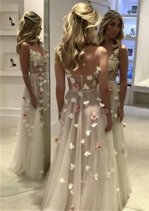 A-Line/Princess Sweetheart Sleeveless Long/Floor-Length Tulle Prom Dress With Flowers
