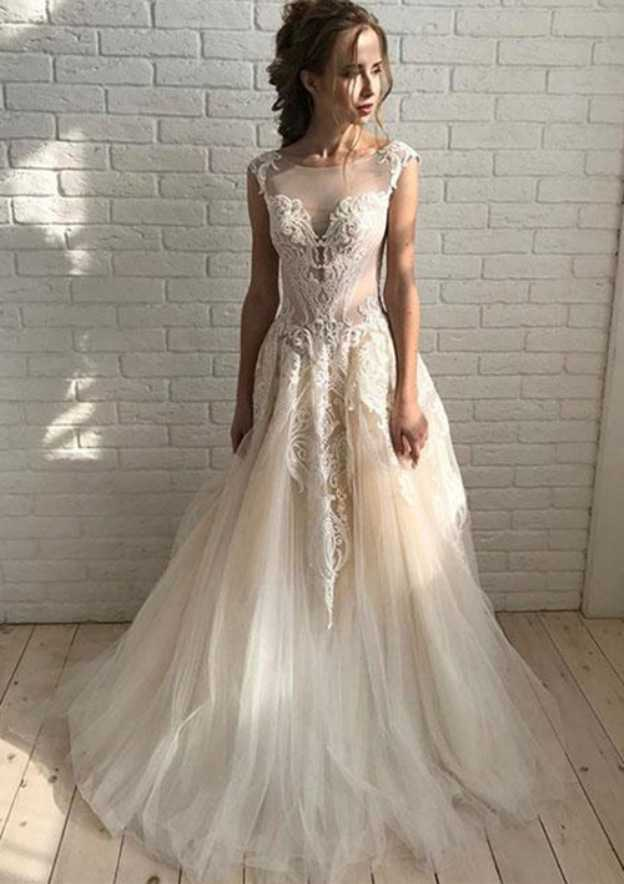 A-Line/Princess Bateau Sleeveless Court Train Tulle Prom Dress With Appliqued