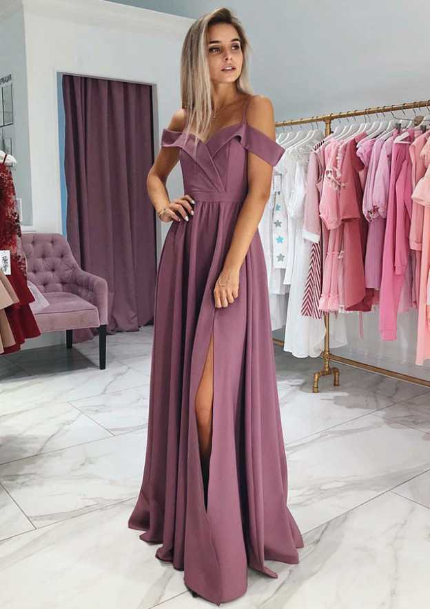 A-Line/Princess Off-The-Shoulder Sleeveless Long/Floor-Length Elastic Satin Prom Dress With Split