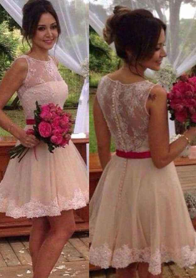 A-Line/Princess Bateau Sleeveless Short/Mini Tulle Prom Dress With Hem Appliqued