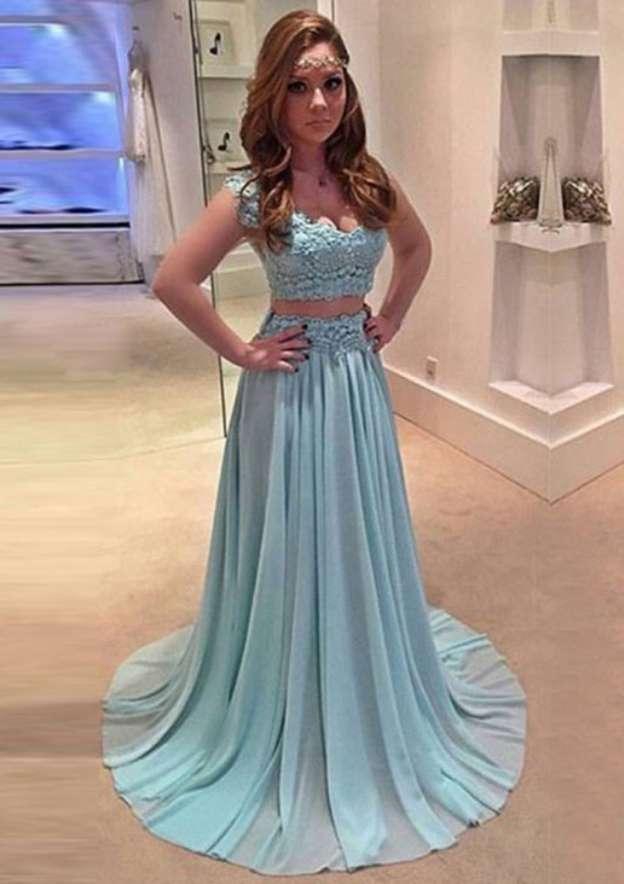 A-Line/Princess Sweetheart Sleeveless Sweep Train Chiffon Prom Dress With Appliqued