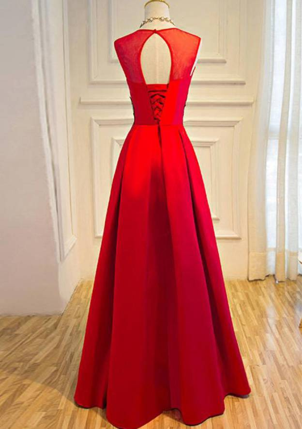 A-Line/Princess Scoop Neck Sleeveless Long/Floor-Length Satin Prom Dress With Appliqued