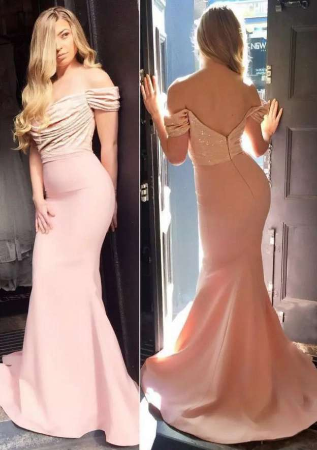 Trumpet/Mermaid Off-The-Shoulder Sleeveless Sweep Train Satin Prom Dress With Sequins