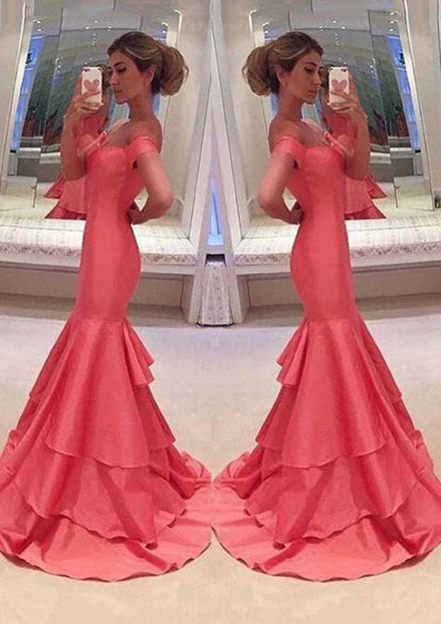 Trumpet/Mermaid Sweetheart Sleeveless Long/Floor-Length Taffeta Prom Dress With Ruffles