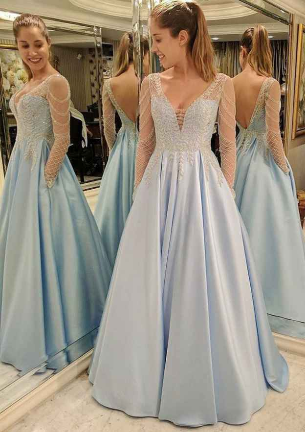 A-Line/Princess Scalloped Neck Full/Long Sleeve Long/Floor-Length Satin Prom Dress With Appliqued Pockets