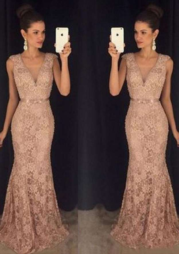 Trumpet/Mermaid V Neck Sleeveless Sweep Train Lace Prom Dress With Waistband Beading