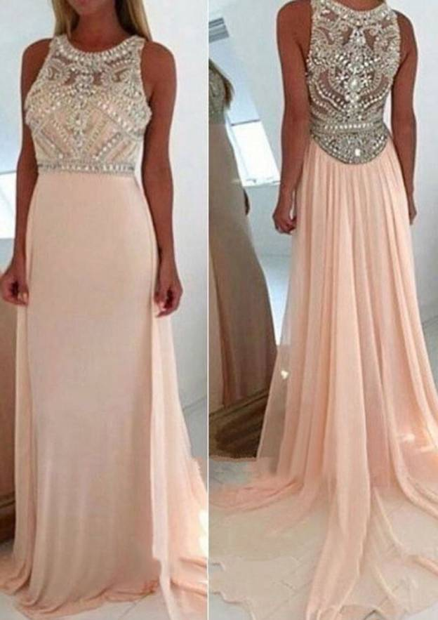 A-Line/Princess Bateau Sleeveless Court Train Chiffon Prom Dress With Beading