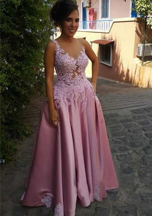 A-Line/Princess Bateau Sleeveless Long/Floor-Length Satin Prom Dress With Appliqued