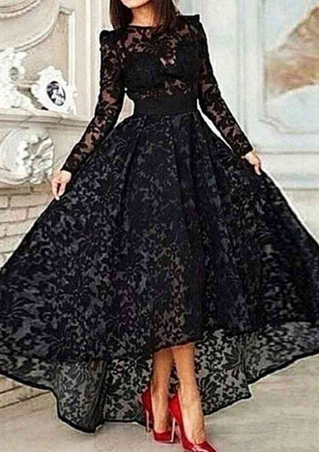 A-Line/Princess Bateau Full/Long Sleeve Asymmetrical Lace Prom Dress With Sashes