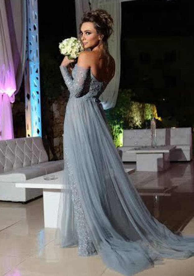 A-Line/Princess Off-The-Shoulder Full/Long Sleeve Court Train Tulle Prom Dress With Sequins Appliqued