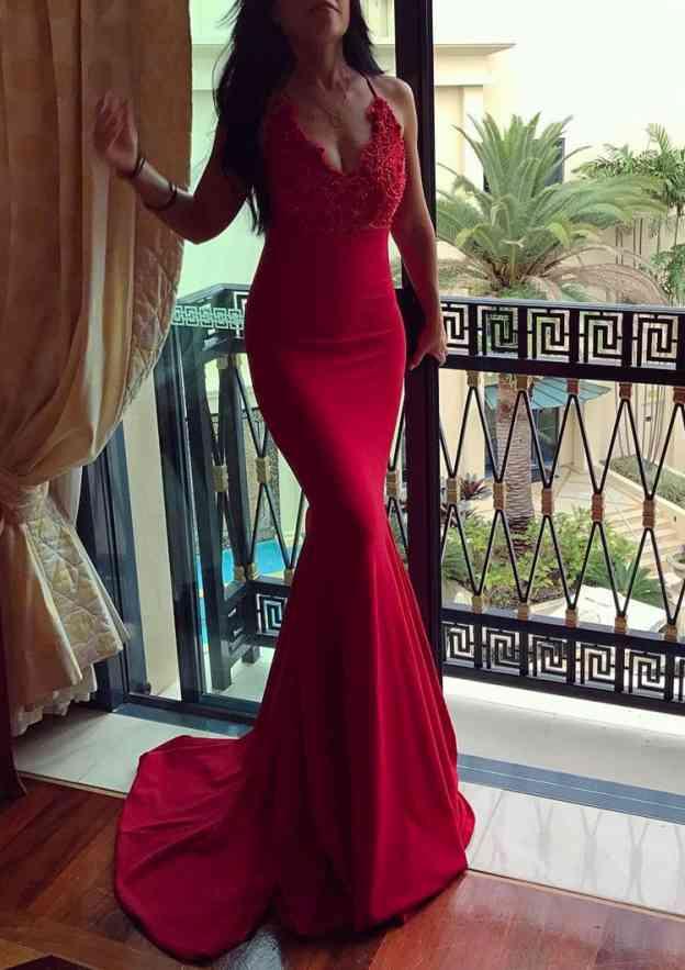 Trumpet/Mermaid Scalloped Neck Sleeveless Court Train Elastic Satin Evening Dress With Lace
