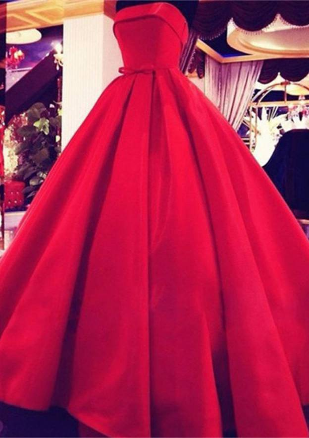 Ball Gown Strapless Sleeveless Long/Floor-Length Satin Prom Dress With Waistband Bowknot
