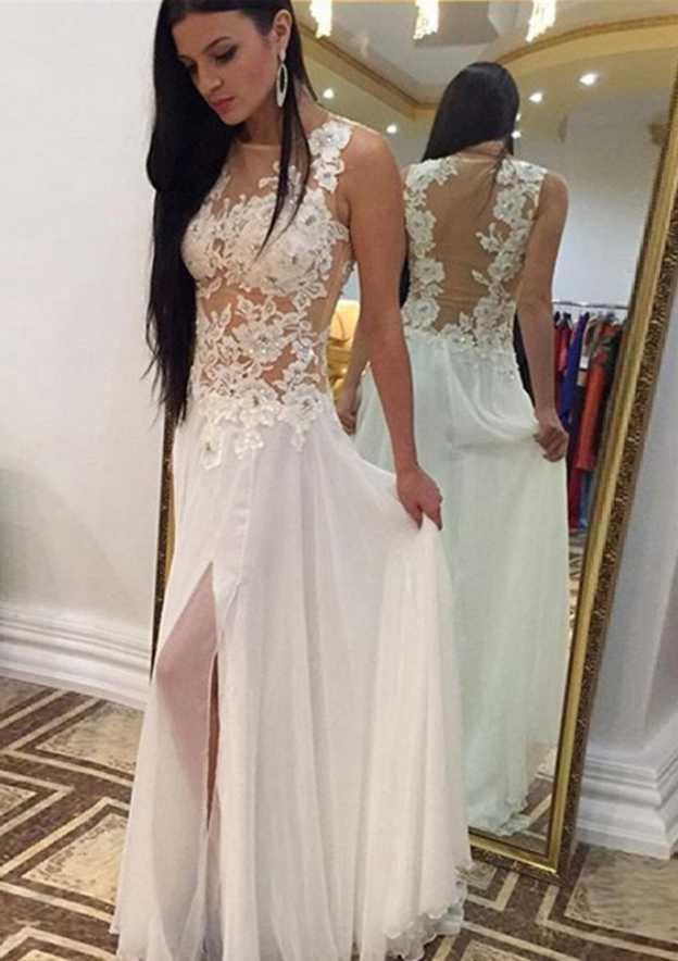 A-Line/Princess Scoop Neck Sleeveless Long/Floor-Length Chiffon Prom Dress With Rhinestone Appliqued Split