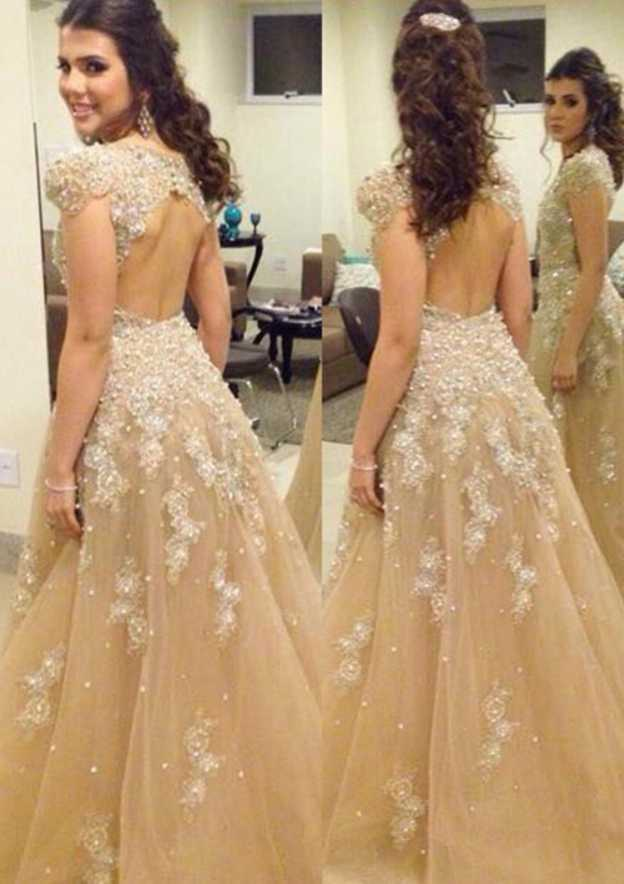 Ball Gown Sleeveless Long/Floor-Length Tulle Prom Dress With Beading Appliqued
