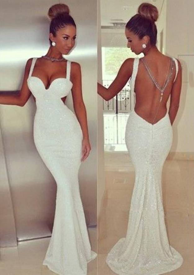 Trumpet/Mermaid Sweetheart Sleeveless Sweep Train Sequined Evening Dress
